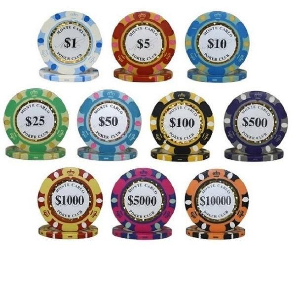 500PCS 14G MONTE CARLO POKER CLUB POKER CHIPS SET With ALUM CASE