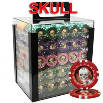 1000PCS 13.5G SKULL POKER CHIPS SET With ACRYLIC CASE and CHIPS TRAYS