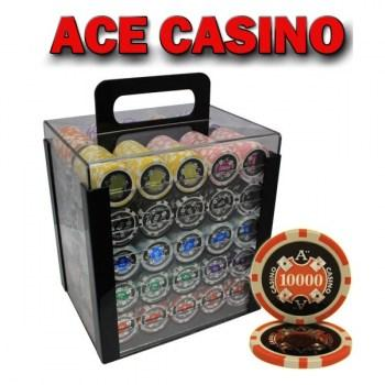 1000PCS 14G LASER GRAPHIC ACE CASINO POKER CHIPS SET With ACRYLIC CASE and CHIPS TRAYS