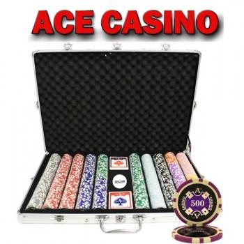 1000PCS 14G LASER GRAPHIC ACE CASINO POKER CHIPS SET With ALUM CASE