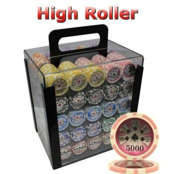 1000PCS 14G LASER GRAPHIC HIGH ROLLER POKER CHIPS SET With ACRYLIC CASE and CHIPS TRAYS