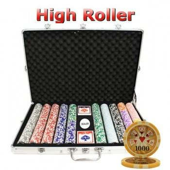 1000PCS 14G LASER GRAPHIC HIGH ROLLER POKER CHIPS SET With ALUM CASE