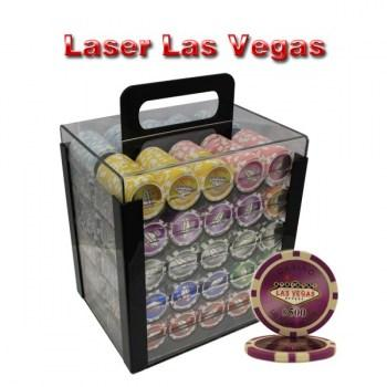 1000PCS 14G LASER GRAPHIC LAS VEGAS POKER CHIPS SET With ACRYLIC CASE and CHIPS TRAYS
