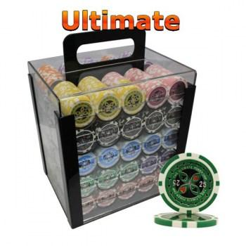 1000PCS 14G LASER GRAPHIC ULTIMATE POKER CHIPS SET With ACRYLIC CASE and CHIPS TRAYS