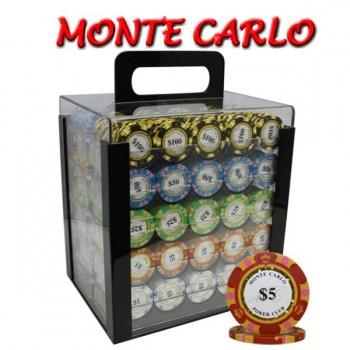 1000PCS 14G MONTE CARLO POKER CLUB POKER CHIPS SET With ACRYLIC CASE and CHIPS TRAYS