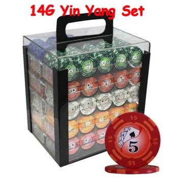 1000PCS 14G YIN YANG DESIGN POKER CHIPS SET With ACRYLIC CASE and CHIPS TRAYS