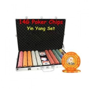 1000PCS 14G YIN YANG DESIGN POKER CHIPS SET With ALUM CASE