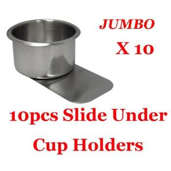 10PCS STAINLESS STEEL POKER TABLE SLIDE UNDER CUP HOLDER JUMBO SIZE_2