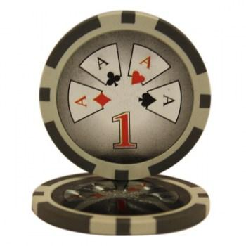 25 HIGH ROLLER $1 POKER CHIPS