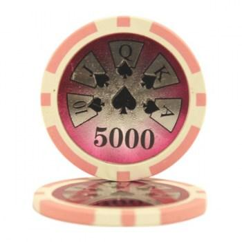 25 HIGH ROLLER $5000 POKER CHIPS