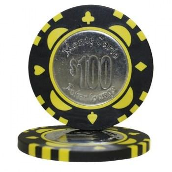 25 MONTE CARLO COIN INLAY $100 POKER CHIPS
