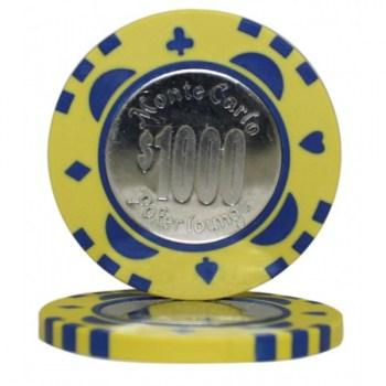 25 MONTE CARLO COIN INLAY $1000 POKER CHIPS