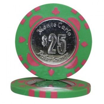 25 MONTE CARLO COIN INLAY $25 POKER CHIPS
