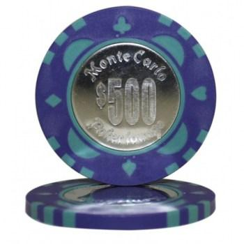 25 MONTE CARLO COIN INLAY $500 POKER CHIPS