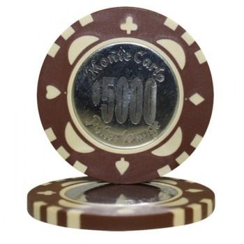 25 MONTE CARLO COIN INLAY $5000 POKER CHIPS