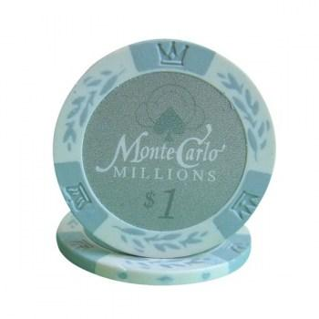 25 MONTE CARLO MILLIONS $1 POKER CHIPS