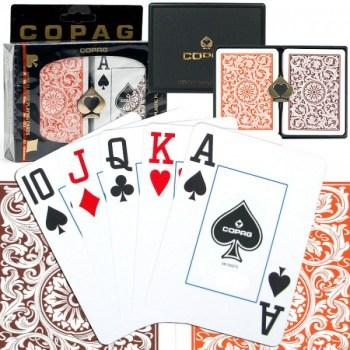 3 units Copag 1546 Poker Size OrangeBrown Regular Index plus 1 Deck Free Cards_2
