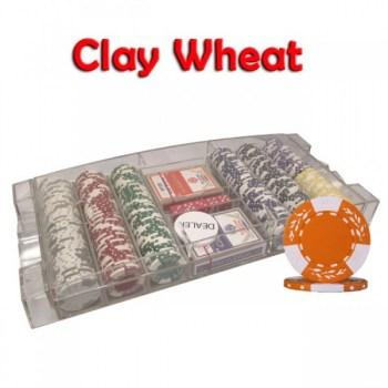 300PCS 10.5G PURE CLAY WHEAT DESIGN POKER CHIPS SET With LARGE ACRYLIC CASE