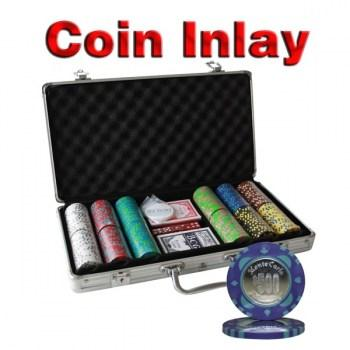 300PCS 12G MONTE CARLO COIN INLAY POKER CHIPS SET With ALUM CASE