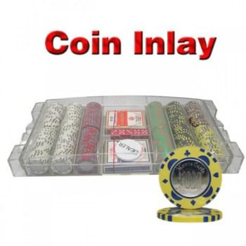 300PCS 12G MONTE CARLO COIN INLAY POKER CHIPS SET With LARGE ACRYLIC CASE