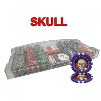 300PCS 13.5G SKULL POKER CHIPS SET With LARGE ACRYLIC CASE