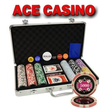 300PCS 14G LASER GRAPHIC ACE CASINO POKER CHIPS SET With ALUM CASE