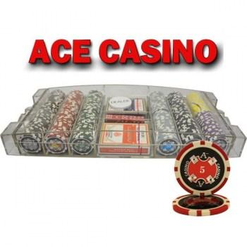 300PCS 14G LASER GRAPHIC ACE CASINO POKER CHIPS SET With LARGE ACRYLIC CASE