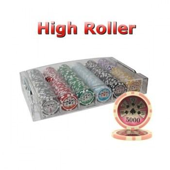 300PCS 14G LASER GRAPHIC HIGH ROLLER POKER CHIPS SET With ACRYLIC CASE