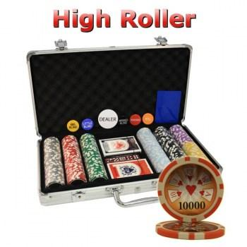 300PCS 14G LASER GRAPHIC HIGH ROLLER POKER CHIPS SET With ALUM CASE