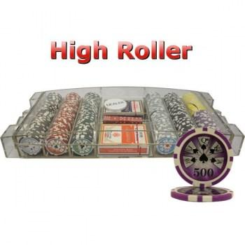 300PCS 14G LASER GRAPHIC HIGH ROLLER POKER CHIPS SET With LARGE ACRYLIC CASE