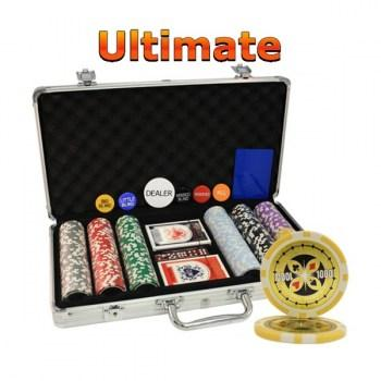 300PCS 14G LASER GRAPHIC ULTIMATE POKER CHIPS SET With ALUM CASE