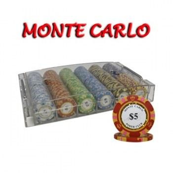 300PCS 14G MONTE CARLO POKER CLUB POKER CHIPS SET With ACRYLIC CASE