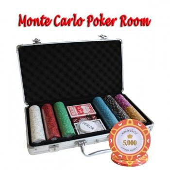300PCS 14G MONTE CARLO POKER ROOM POKER CHIPS SET With ALUM CASE