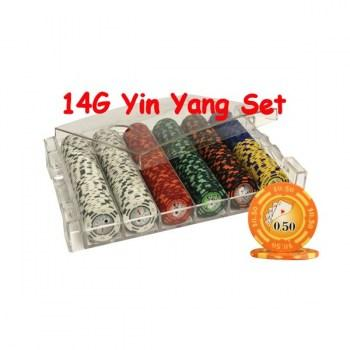 300PCS 14G YIN YANG DESIGN POKER CHIPS SET With ACRYLIC CASE