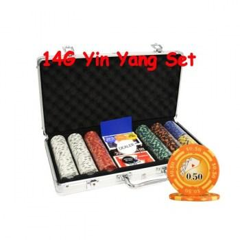 300PCS 14G YIN YANG DESIGN POKER CHIPS SET With ALUM