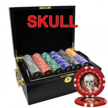 500PCS 13.5G SKULL POKER CHIPS SET With MAHOGANY CASE