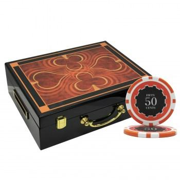500PCS 14G ECLIPSE POKER CHIPS SET With HIGH GLOSS WOOD CASE