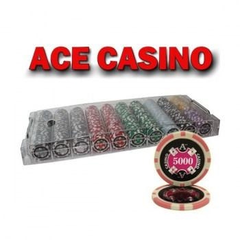 500PCS 14G LASER GRAPHIC ACE CASINO POKER CHIPS SET With ACRYLIC CASE
