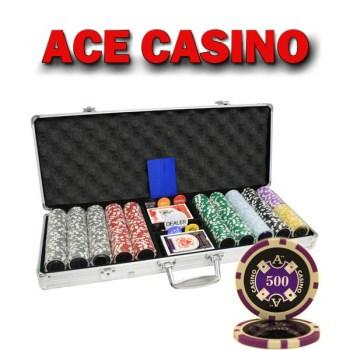 500PCS 14G LASER GRAPHIC ACE CASINO POKER CHIPS SET With ALUM CASE