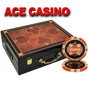 500PCS 14G LASER GRAPHIC ACE CASINO POKER CHIPS SET With HIGH GLOSS WOOD CASE