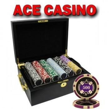 500PCS 14G LASER GRAPHIC ACE CASINO POKER CHIPS SET With MAHOGANY CASE