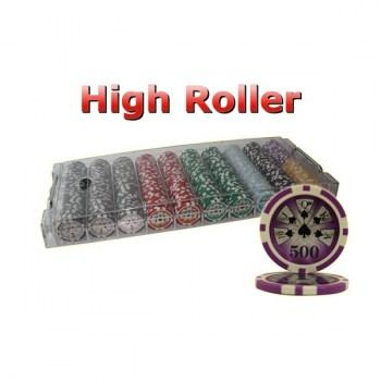 500PCS 14G LASER GRAPHIC HIGH ROLLER POKER CHIPS SET With ACRYLIC CASE