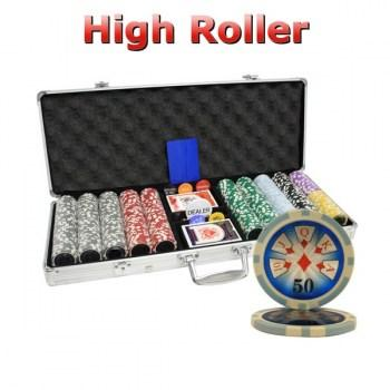 500PCS 14G LASER GRAPHIC HIGH ROLLER POKER CHIPS SET With ALUM CASE