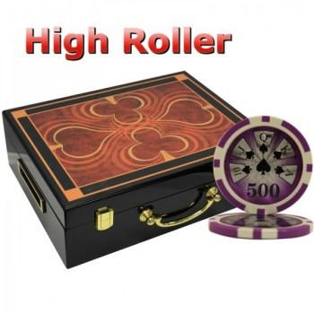 500PCS 14G LASER GRAPHIC HIGH ROLLER POKER CHIPS SET With HIGH GLOSS WOOD CASE
