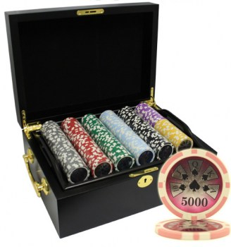 500PCS 14G LASER GRAPHIC HIGH ROLLER POKER CHIPS SET With MAHOGANY CASE