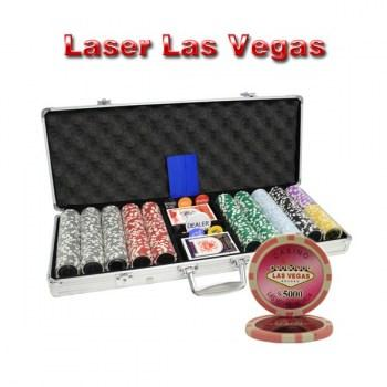 500PCS 14G LASER GRAPHIC LAS VEGAS POKER CHIPS SET With ALUM CASE