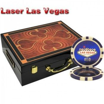 500PCS 14G LASER GRAPHIC LAS VEGAS POKER CHIPS SET With HIGH GLOSS WOOD CASE
