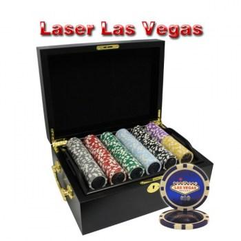500PCS 14G LASER GRAPHIC LAS VEGAS POKER CHIPS SET With MAHOGANY CASE