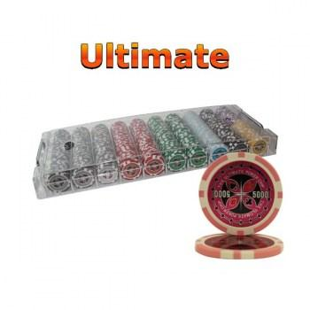 500PCS 14G LASER GRAPHIC ULTIMATE POKER CHIPS SET With ACRYLIC CASE