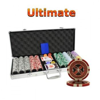 500PCS 14G LASER GRAPHIC ULTIMATE POKER CHIPS SET With ALUM CASE